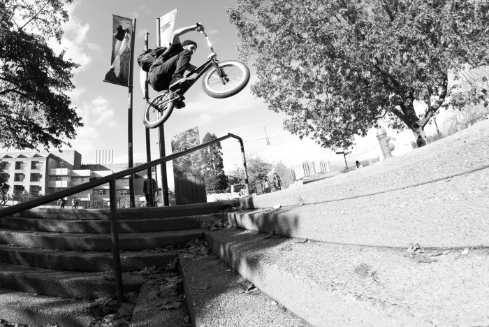 Nick Lindstrom rail hop by Zach Rampen
