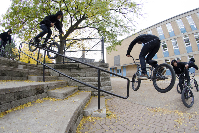 Chi gettin' dangerous on one of Toronto's most sessioned rails. Photo by Trent Barker.